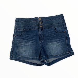 Tinseltown High Waisted Denim Blue Shorts Size 17